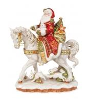 Фигурка керамическая Дед Мороз на лошади, высота 42 см, длина 33 см Дамаск
